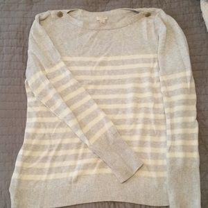 J Crew striped button boatneck sweater, L